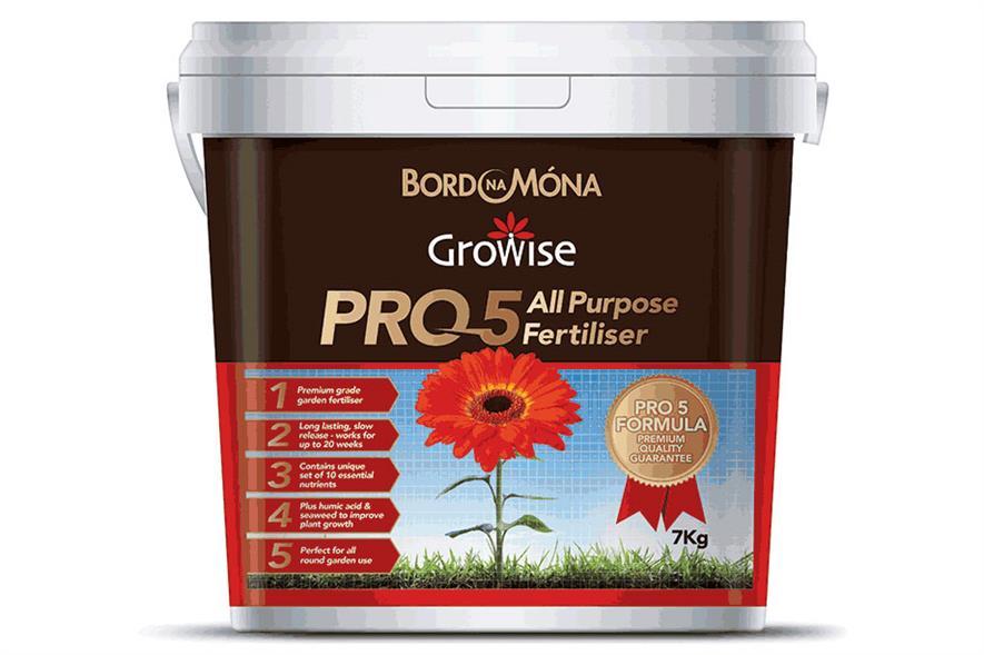 Bord na Móna Growise Pro 5 range includes  All Purpose Fertiliser available in 7kg tub