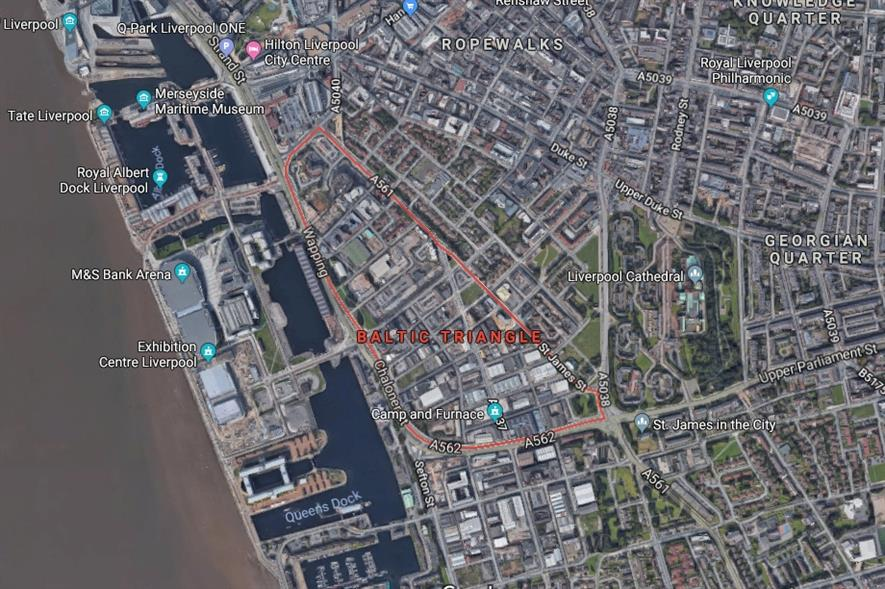 The Baltic Triangle is in a key position in Liverpool. Image: Google Maps