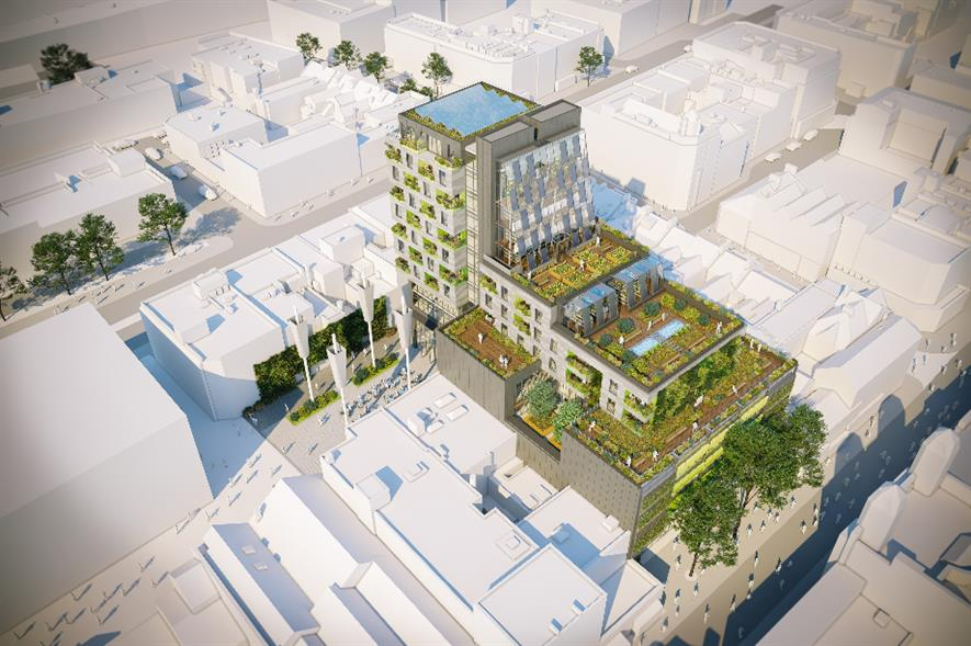Aerial view of Biophilic Living Swansea - credit: Powell Dobson Architects