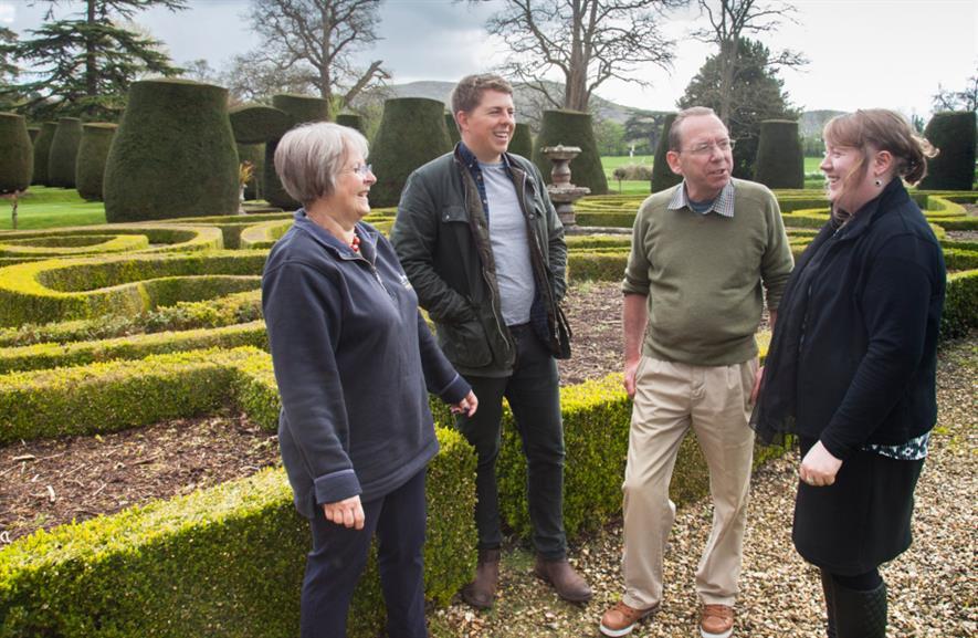 (l - r) Barbara Griffiths, Tom Rowley-Conwy, Lord Owain Langford, North Wales Tourism's Eirlys Jones in Bodrhyddan Hall gardens