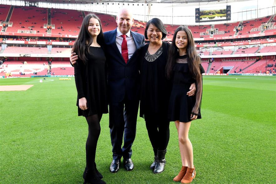 Steve Braddock and his family at the Emirates Stadium - credit: GMA