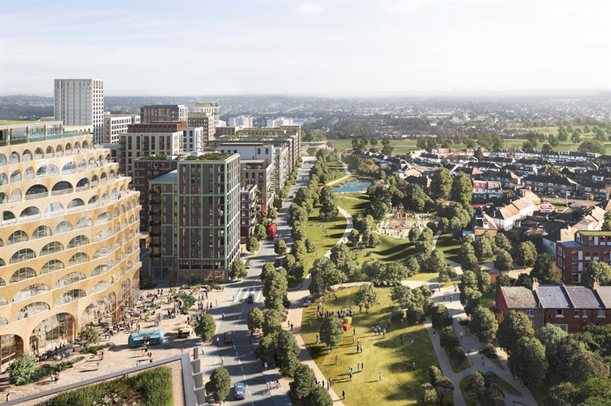 Design rendering for proposed Brent Cross Town development - credit: Argent Related