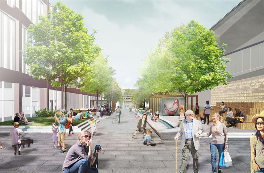 Visualisation of the new public realm. Image: Townshend Landscape Architects