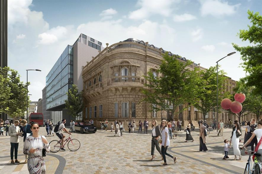 Visualisation of the transformed Colmore Row in Snow Hill. Image: Broadway Malyan