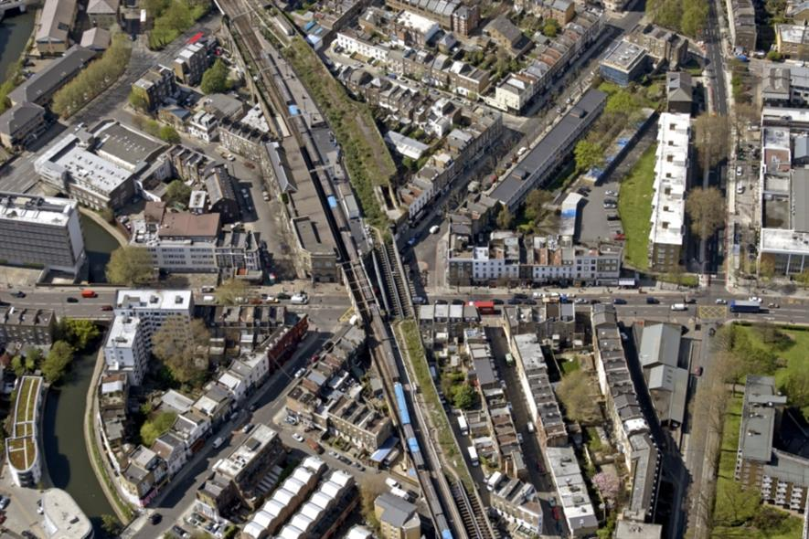 The western end of what could be the Camden Highline from the air. Image: FRENCH+TYE