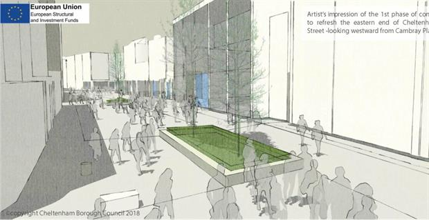 Visualisation of Cheltenham scheme. Image: Cheltenham Borough Council