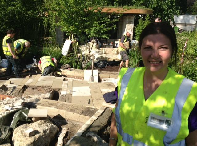 Christine North at Adam Frost's RHS Chelsea garden on Wednesday