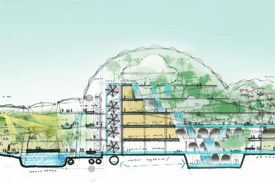 An early concept drawing of the Qingdao biome. Image: The Eden Project