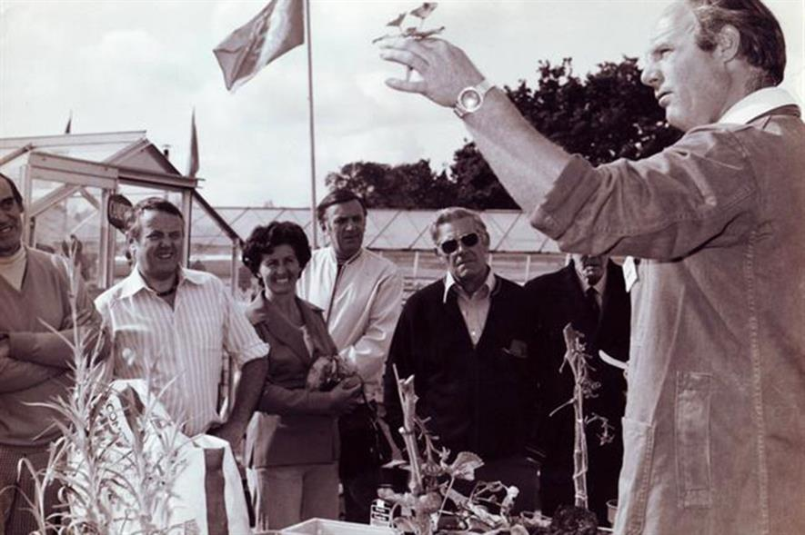 Michael Cooling demonstrating to customers, how to get the best from the new Fisons Grow Bag in the 1970s.