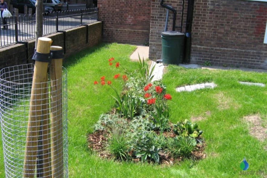 A SuDS rain garden at Ashby Grove. Image: Susdrain