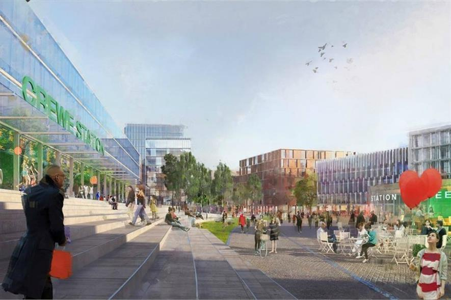 Artist impression of public realm design for Crewe Station. Image: Cheshire East Council