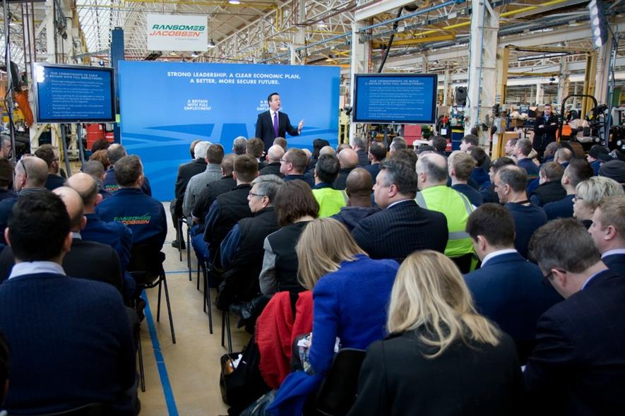 David Cameron speaking at the Ransomes Jacobsen HQ
