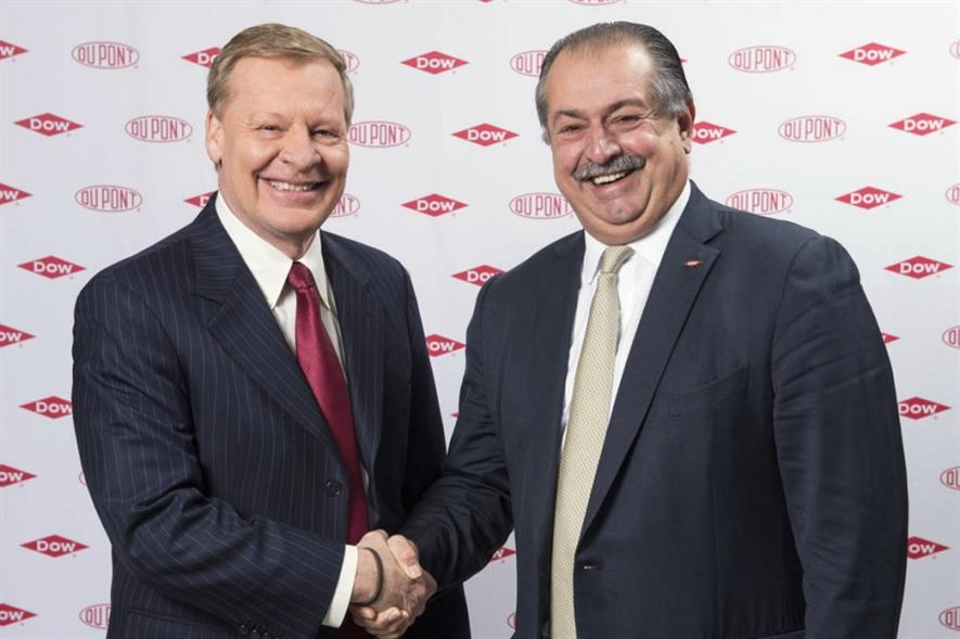 DuPont chairman and CEO Edward Breen, and Dow president, chairman and CEO Andrew Liveris - image: Dow DuPont