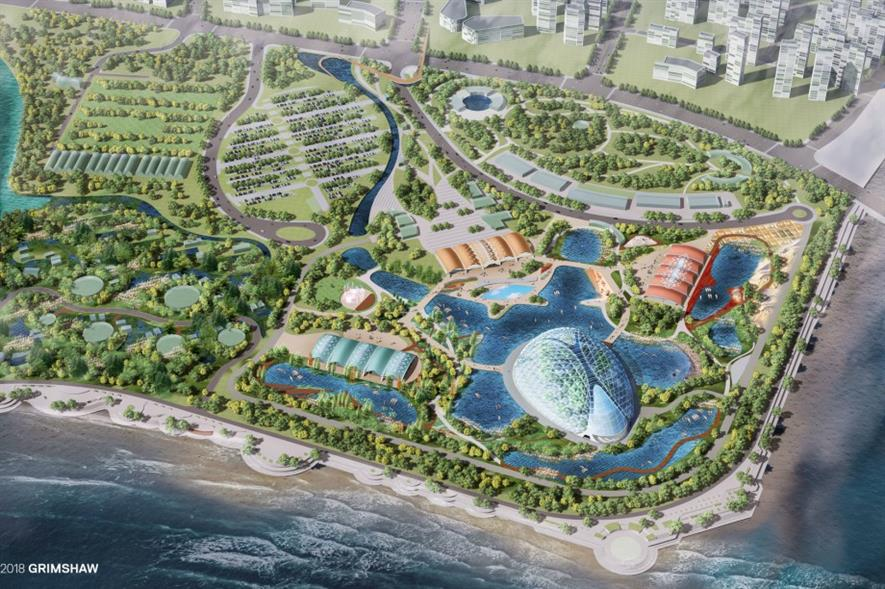 A new aerial visualisation of Eden Qingdao. Image: Grimshaw Architects