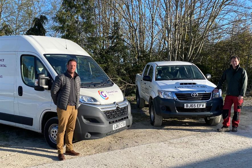 Grounds Care Group CEO Adam Brindle and Green & Tidy Landscapes managing director Paul Gittus - credit: GCG