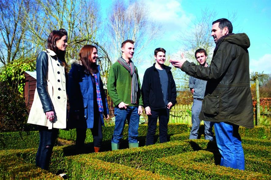 Homebase Academy: the students learn about garden design from Adam Frost (right)