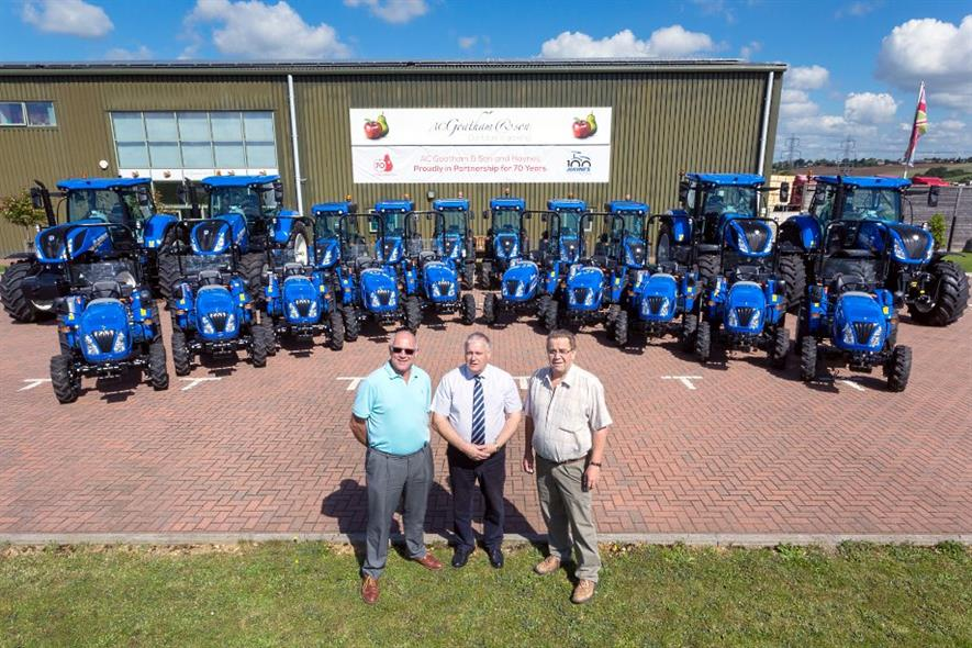 AC Goatham directors Steve Everard (left) and Clive Goatham (right) with Haynes Agricultural salesman , Jeremy Cloude - image: AC Goatham & Sons