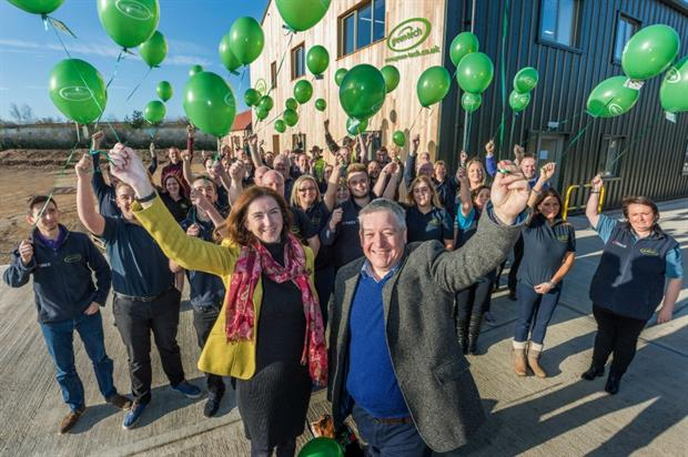 Rachel and Richard Kay (front) with staff celebrate record results in November. Image: Green-tech