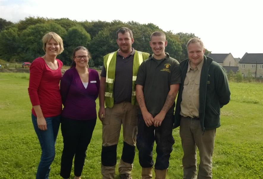 (l - r) Emma Hanford, Vicki Finlay, Tom Utley (Utley Excavations) and Andrew Houseman and Ben Stirling (Landscape Creations)