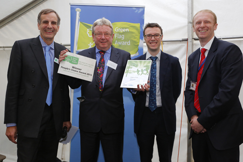 (l-r) Phil Barton (Green Flag) cllr Mike James (Neath Port Talbot) Ben Llewellyn (DCLG) Andy Kauffman (Quadron Services)