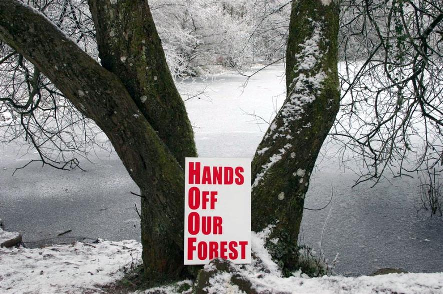 Placard in the Forest of Dean - image: 38 Degrees