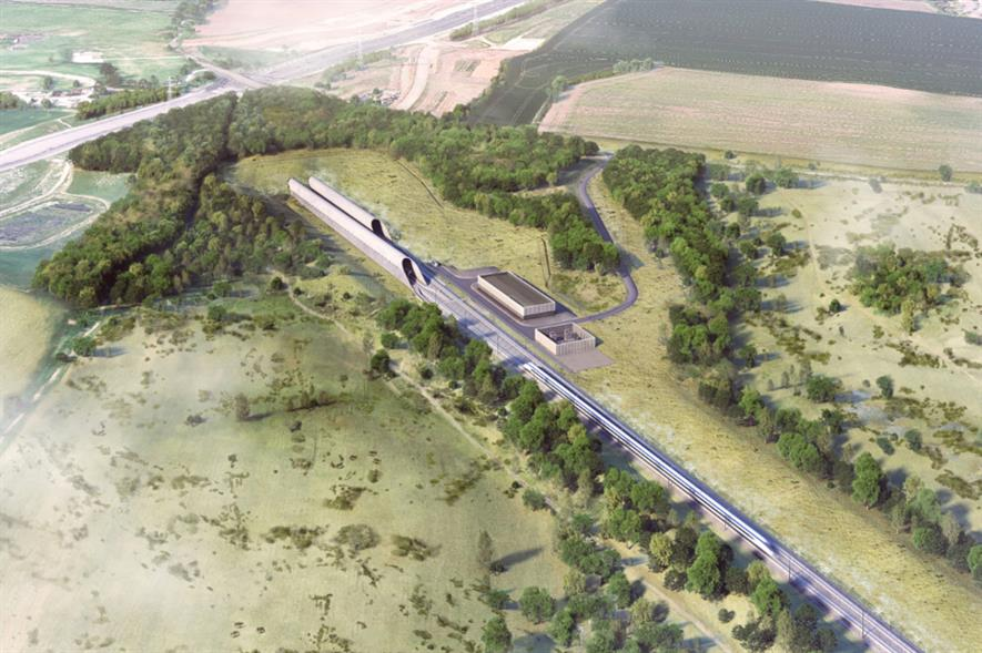 Aerial view of Chiltern Tunnel South Portal credit: HS2 Ltd/Grimshaw/Align