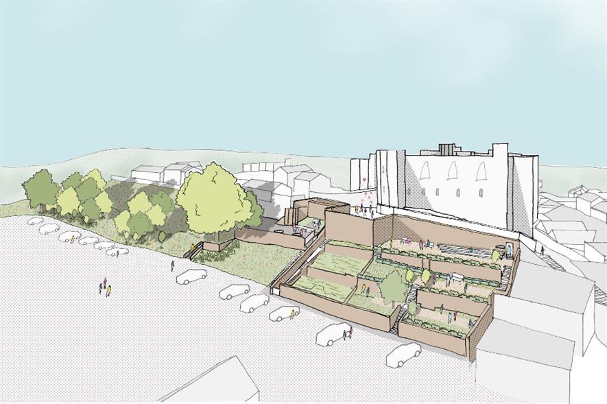Design rendering of the landscaped garden plots below Haverfordwest Castle - credit: Pembrokeshire County Council