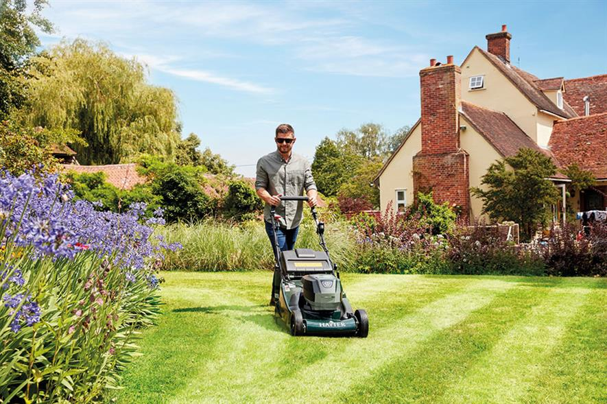 Harrier: two-piece rear roller leaves stripes and enables mowing right up to lawn edge - credit: Hayter