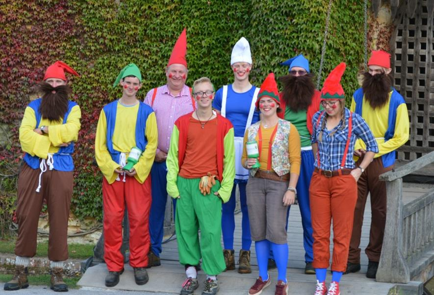 Hever Castle staff dressed as garden gnomes
