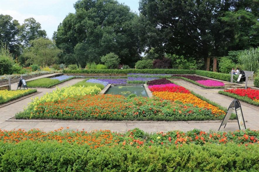 The colour wheel planting in the garden for summer 2018. Image: Horniman Museum and Gardens