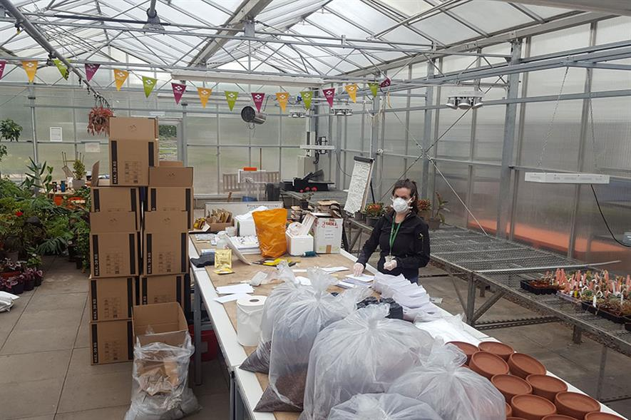 Horticulture teacher Opal Rowe boxes up materials for students to work on at home - image: SRUC
