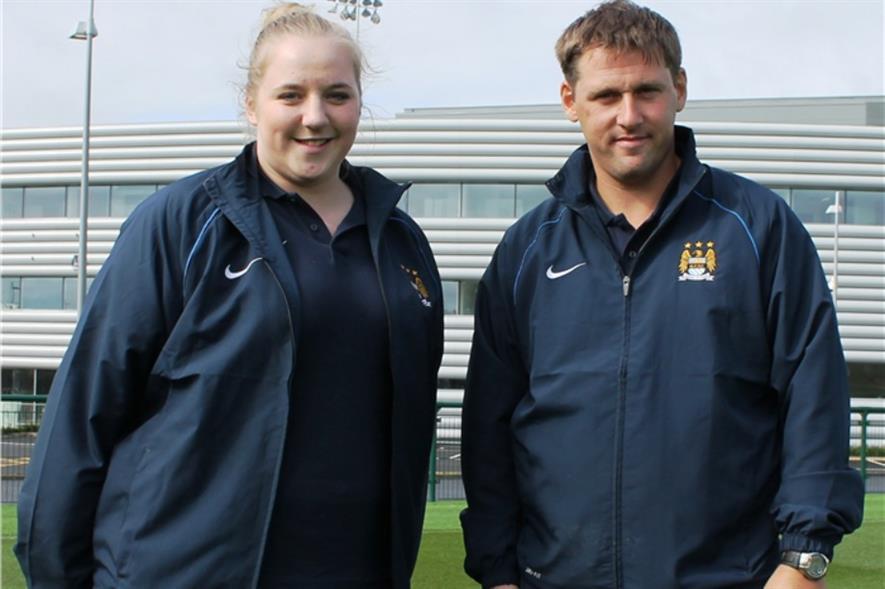Katie Croft and head groundsman Lee Metcalfe