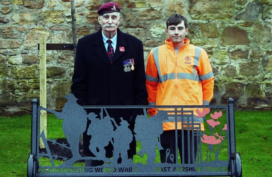 Veteran George Hind and Tivol's Mark McKinlay at Kilmarnock. Image: Tivoli