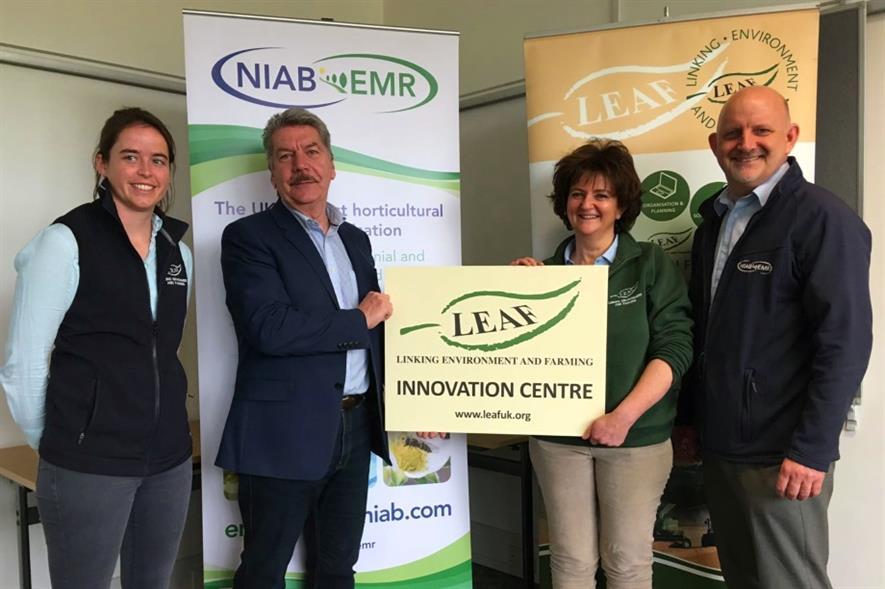 L-R: Alice Midmer, Bill Clark, LEAF chief executive Caroline Drummond, NIAB EMR operations director Ross Newham - image: NIAB EMR