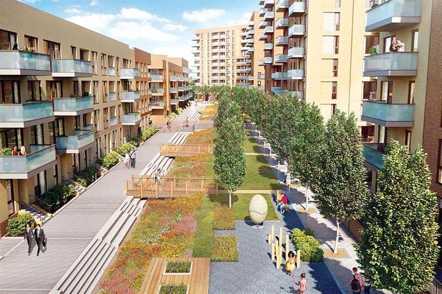 Aberfeldy Village: linear park forms a green spine through the scheme - image: Prime Place/Poplar HARCA