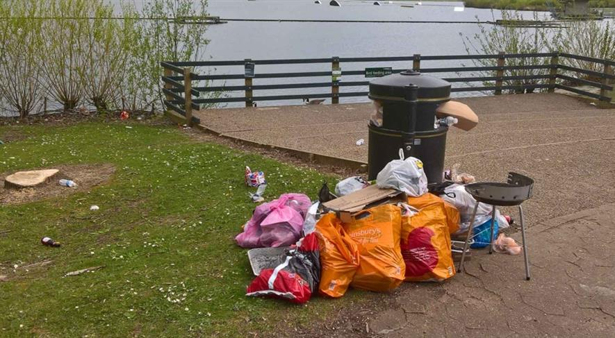Rubbish left at Willen Lake this summer. Image: The Parks Trust