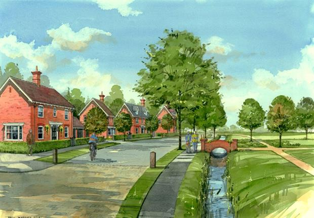 The Long Marston Airfield development has been designed with garden city principals. Image: Cala Homes