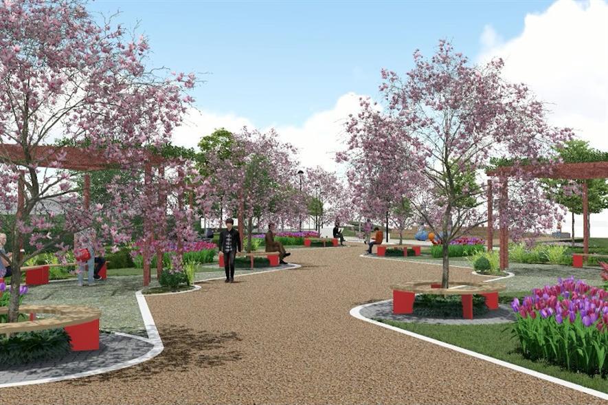 Rendering of Longbridge public realm works - credit: St Modwen