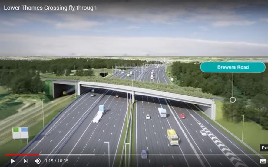 Still from the YouTube video showing green bridges. Image: Highways England/YouTube