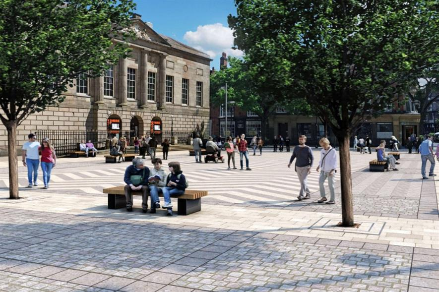 Design rendering of Stafford's revamped Market Square - credit: Stafford Borough Council