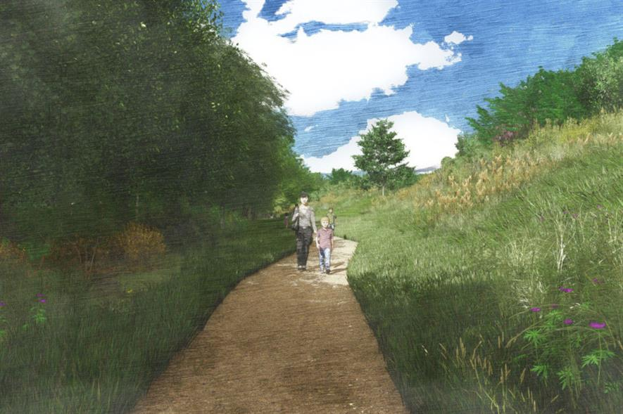Artist impression of the new biodiversity corridor - credit: Wykeland/FPCR Environment and Design