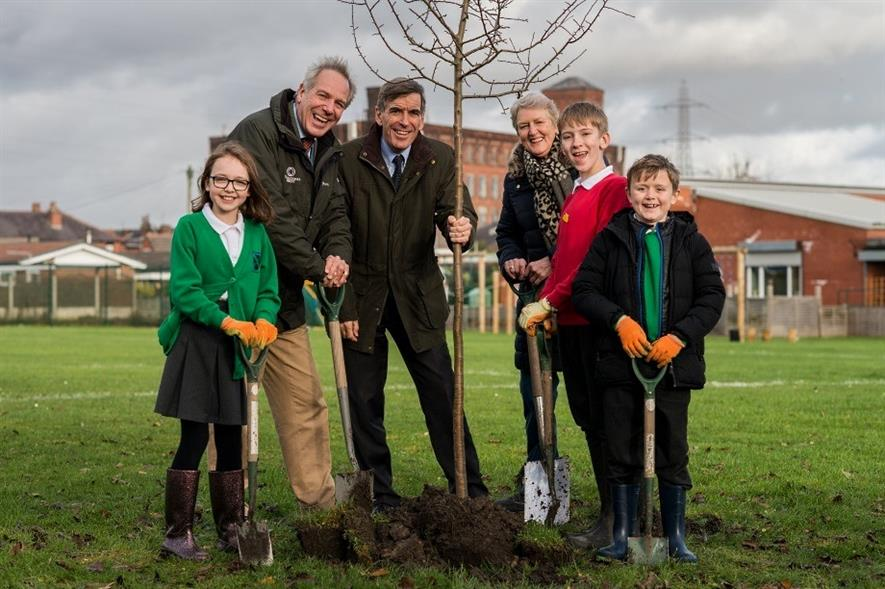 Tree Champion Sir William Worsley, forestry minister David Rutley and Chair of the Woodland Trust Baroness Barbara Young with pupils from St Andrews School, Radcliffe - image: WT