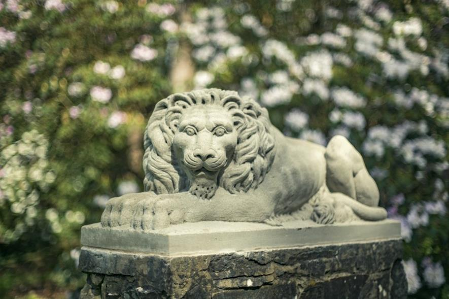 One of the replica lions. Image: Rowallane Garden, National Trust, Northern Ireland