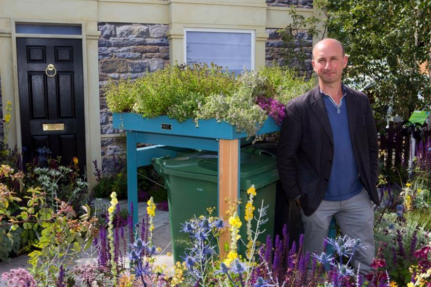 Nigel Dunnett in his RHS Greening Grey Britain garden at Hampton Court 2015. Image: HW