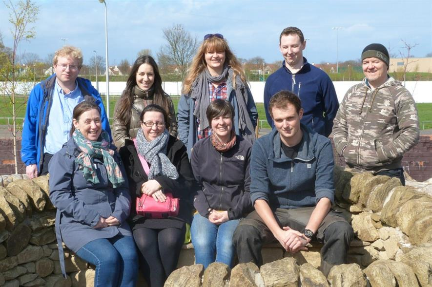 SRUC garden design students with North Edinburgh Arts community growing coordinator Valla Moodie (bottom row, second from right). Image: Supplied