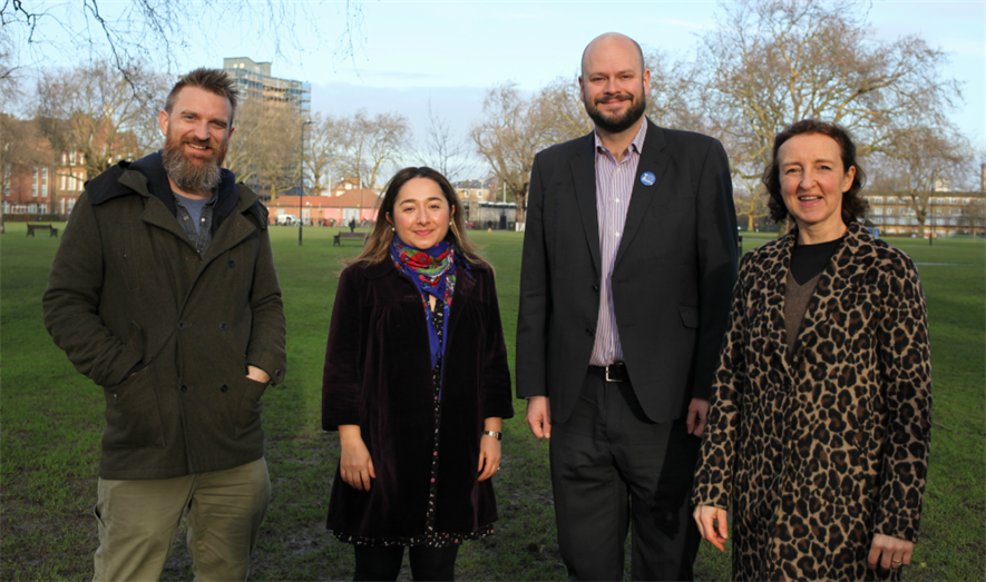 (l - r) Raven-Ellison, Demirci, Mayor Philip Glanville and Alice Roberts, Trustee of the National Park City campaign