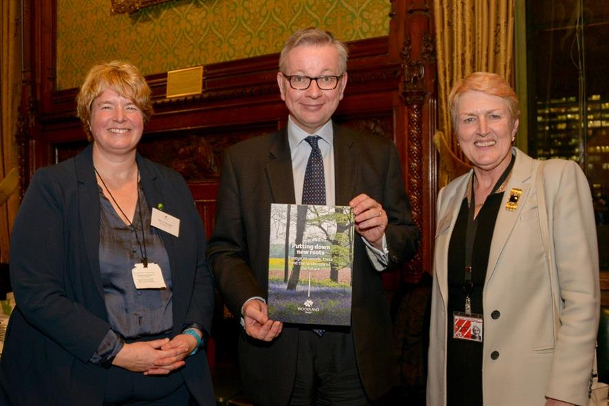 Michael Gove flanked by Beccy Speight (left) and Baroness Young - image: Phil Formby/WTML
