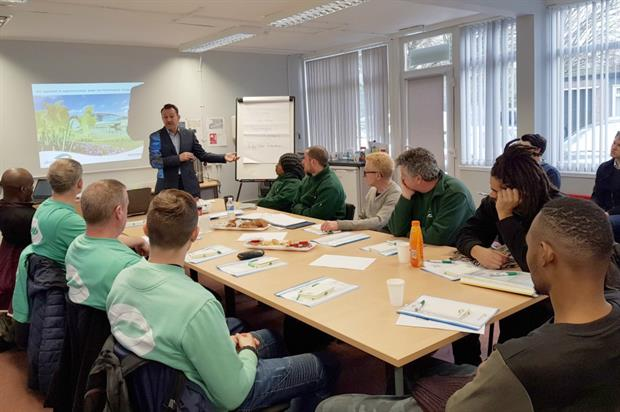 Idverde CEO Doug Graham with the first apprentices to join the Performance Campus. Image: idverde