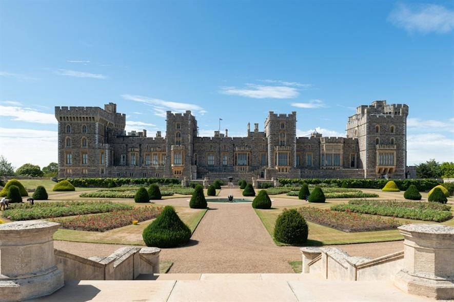 The east façade of Windsor Castle and the East Terrace Garden - credit: Royal Collection Trust/all rights reserved. Photograph by Patrick Lichfield