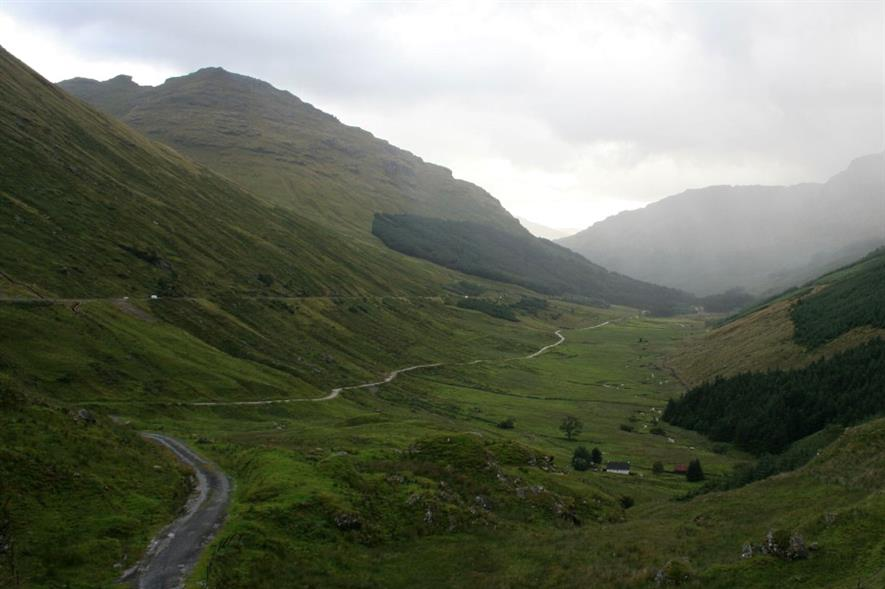 The Rest and Be Thankful pass, showing the A83 and Old Military Road - image: Ben Allen (CC BY ND 2.0)